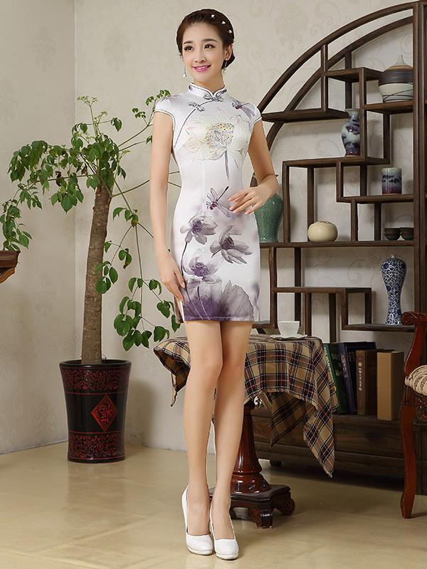 Lotus Printed Short Cheongsams Dress