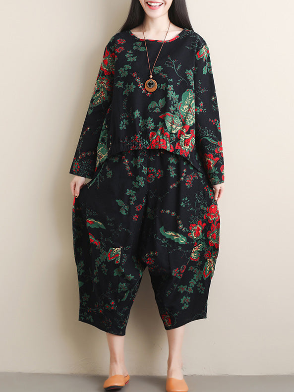 Loose High-low Round-neck Ramie Cotton T-shirt+Pants Suits