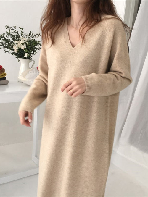 Urban Knitting V-neck Sweater Dress