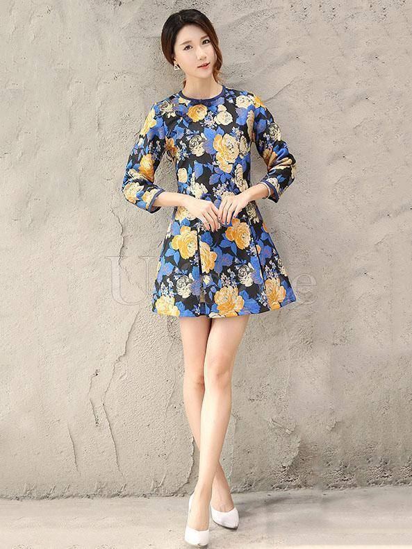 Embroidered Blue A Line Cheongsam Mini Dress