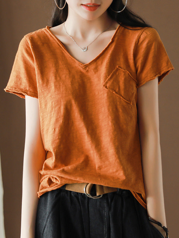 Vintage Bamboo Cotton Solid T-Shirt