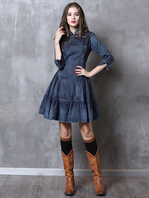 Vintage Falbala Short Cheongsams Denim Dress