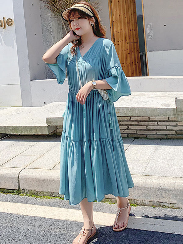 Loose Flared Sleeves Solid Layeres Dress
