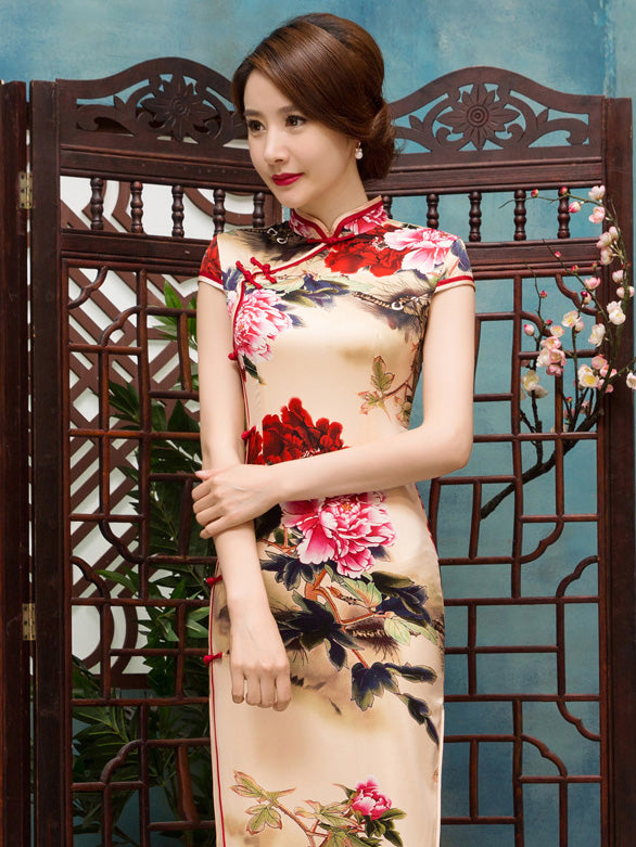 Floral Side Split Long Cheongsams