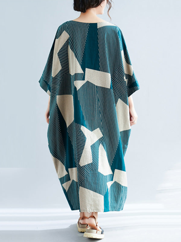 Plus Size Loose Geometric Pattern Maxi Dresses