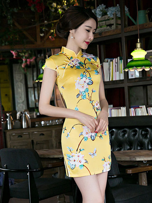 National Flower Printed Brilliant Yellow Short Slim Cheongsam Dress