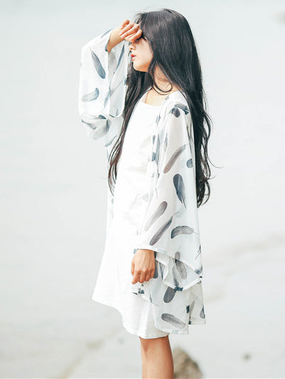 Loose Feather Printed Cool Cover-up