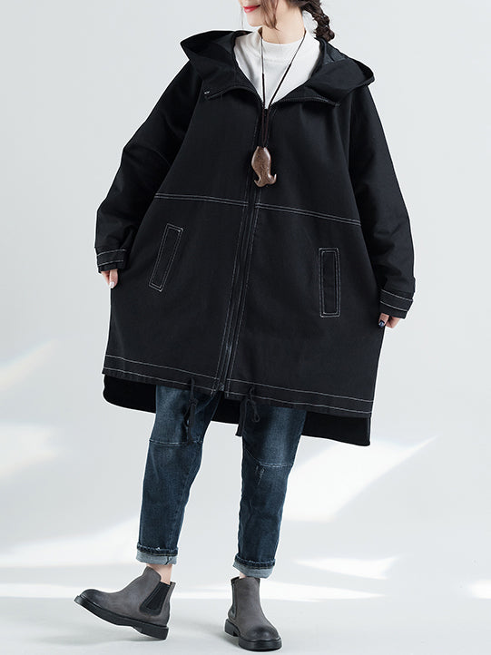 Plus Size Leisure Fashion Hooded Ramie Cotton Coat