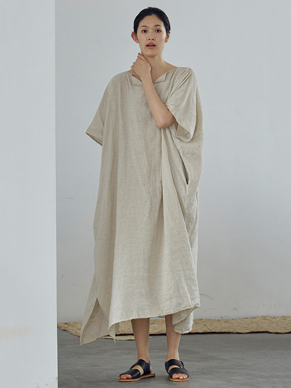 Loose Linen Apricot Split-side Ramie Long Dress