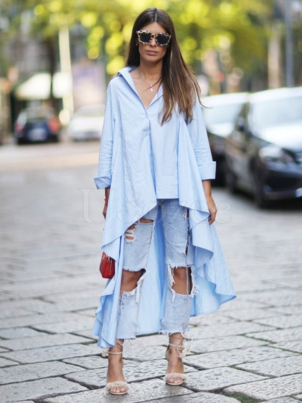 Light Blue Lapel V-Neck High-Low Ruffled Blouse