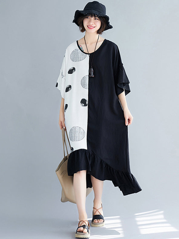 Loose Oversize Asymmetri Falbala Midi Dress