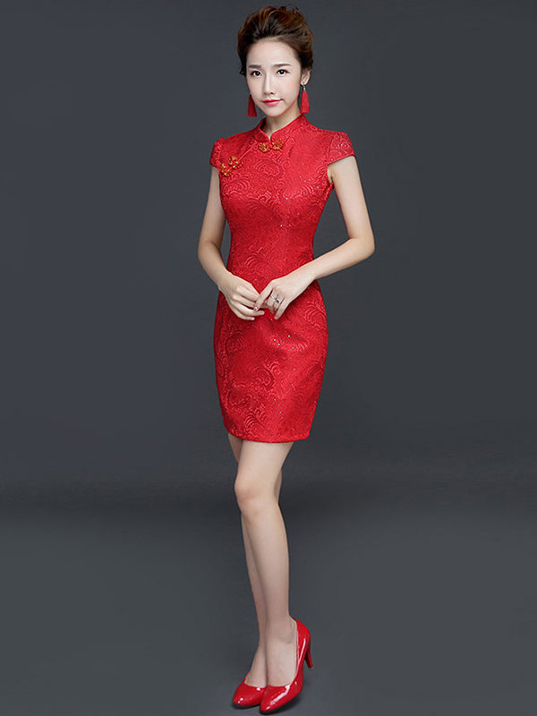 Red Embroidered Side Split Stand Collar Short Cheongsam