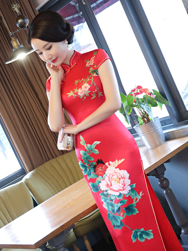 Red Peony Print Side Split Long Cheongsam