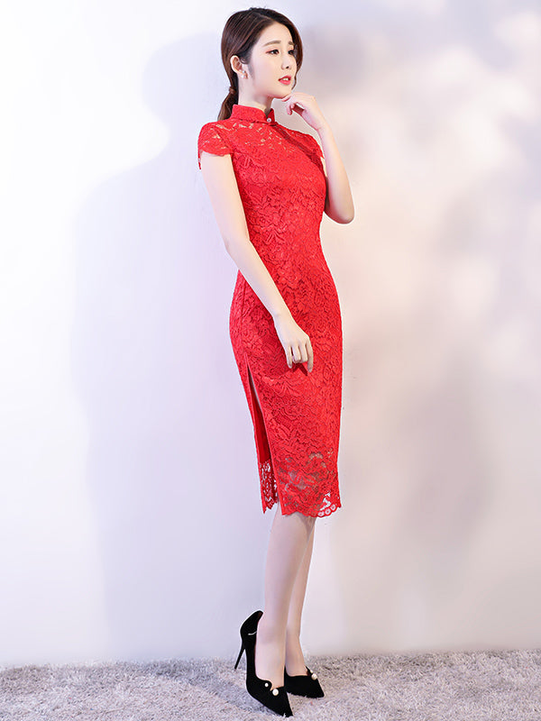 Red Lace See-through Split-side Short Cheongsam