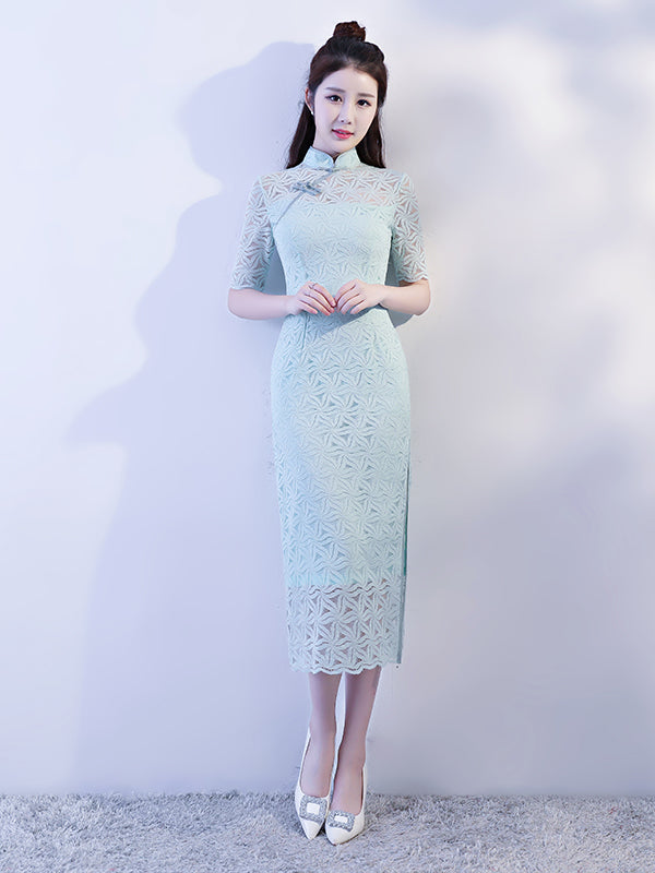 Light-green Lace Hollow Split-side Long Cheongsam