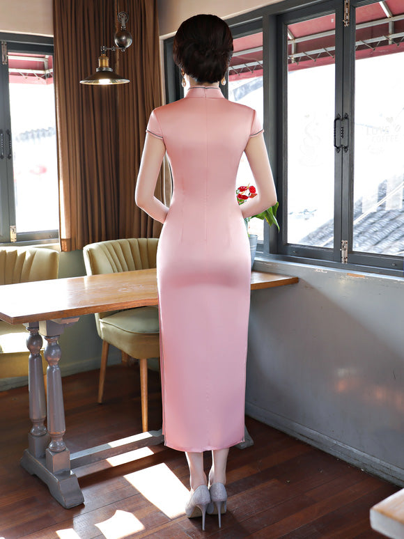 Pink Flower Print Stand-collar Long Cheongsam