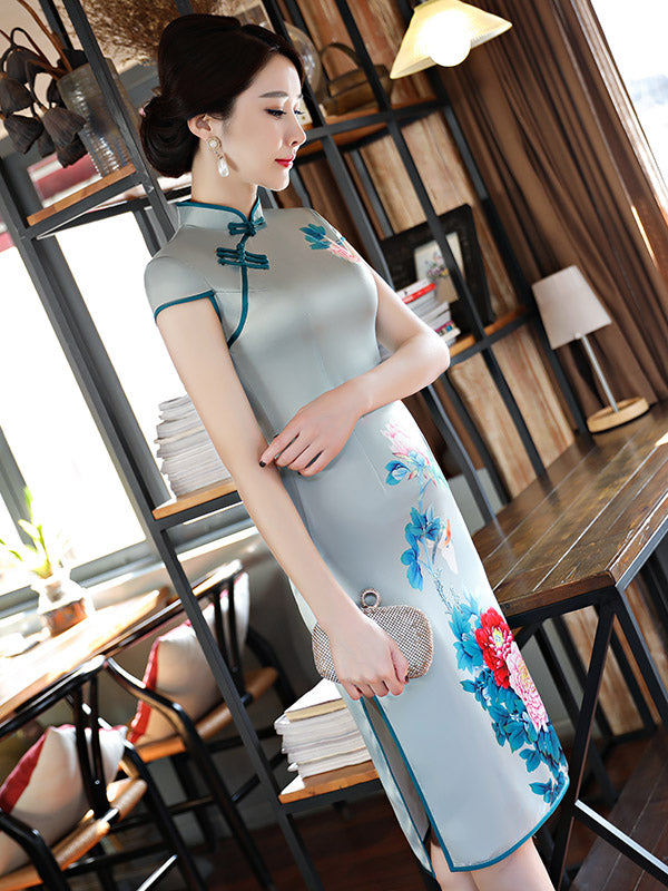 Light-green Peony Print Stand-collar Short Cheongsam