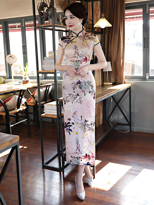 Plants&Flowers Print Stand-collar Long Cheongsam