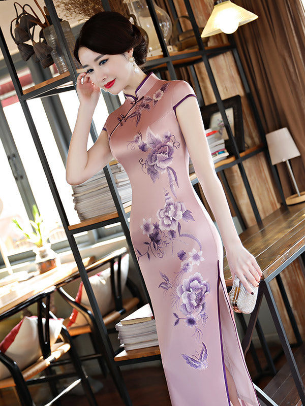Light Purple Flower Print Stand-collar Long Cheongsam