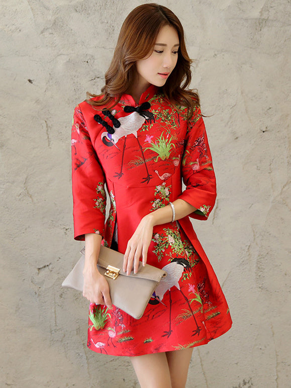 Embroidered Stand Neck A Line Cheongsam Mini Dress