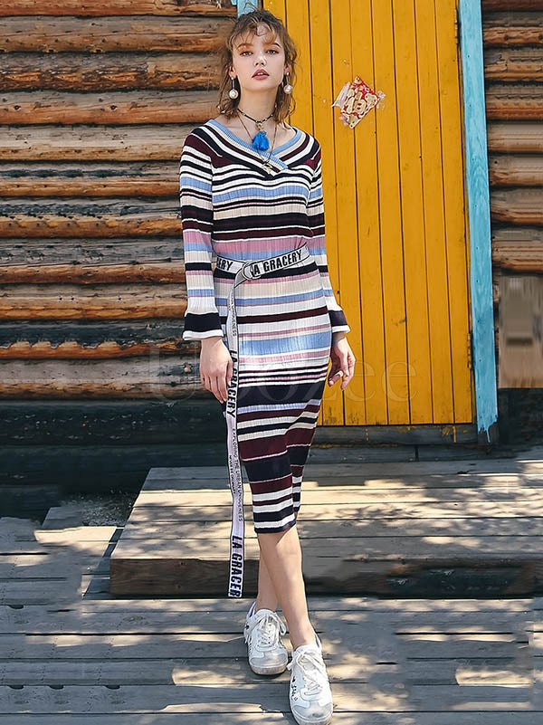 Liebo Colorful Striped Flare Sleeve Slim Knitting Dress