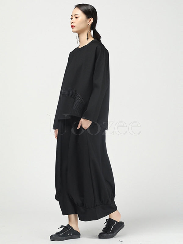 Solid Color Pleated Wide-Leg Culottes