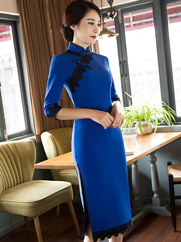 Blue Lacy Split-side Long Cheongsam