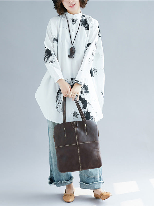 Loose Ink Printed Long Shirt