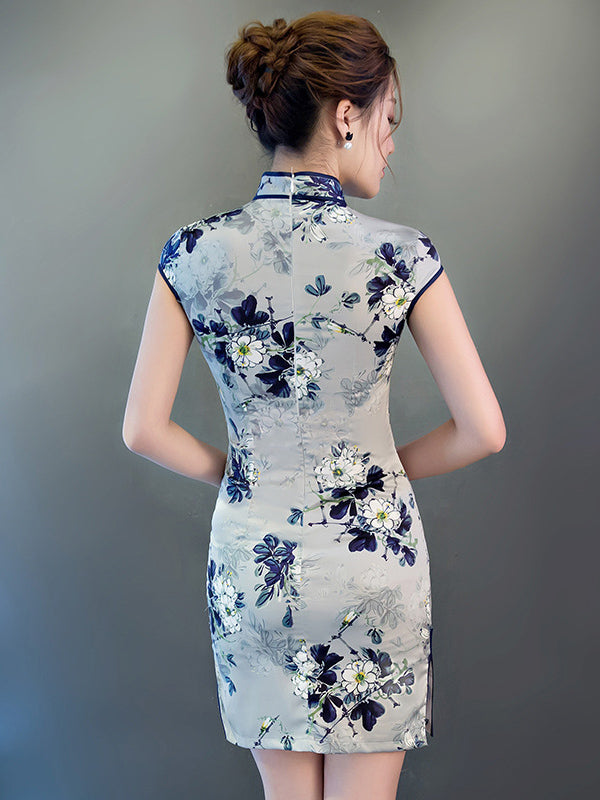 Gray Flower Print Short Cheongsam