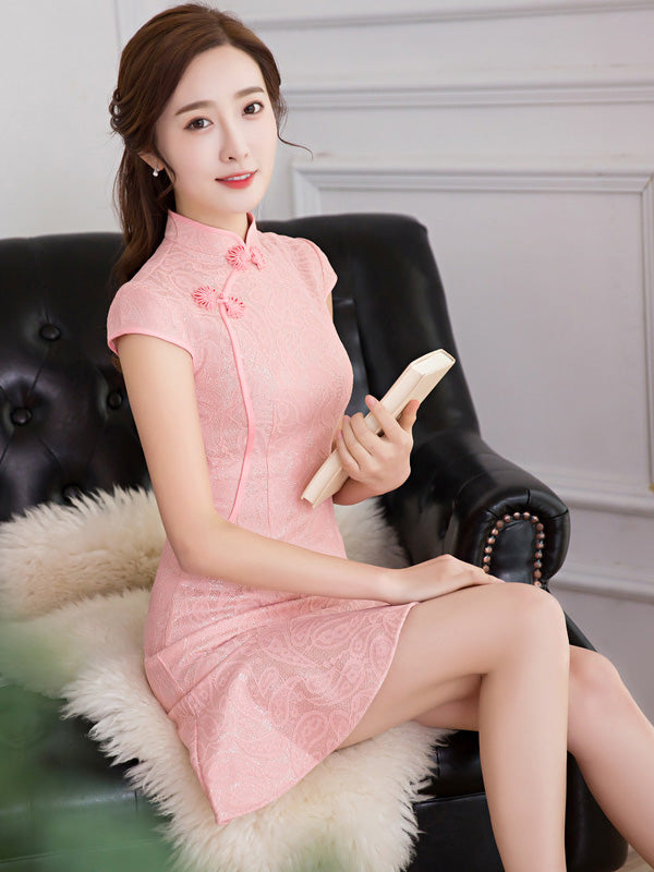 Pink Lace Mermaid Short Cheongsam Dress