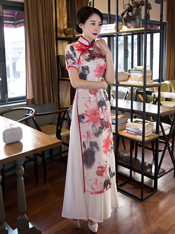Lotus Print Split-side Ao Dai Long Cheongsam