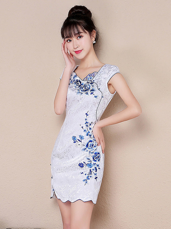 Jacquard Embroidered Short Cheongsam