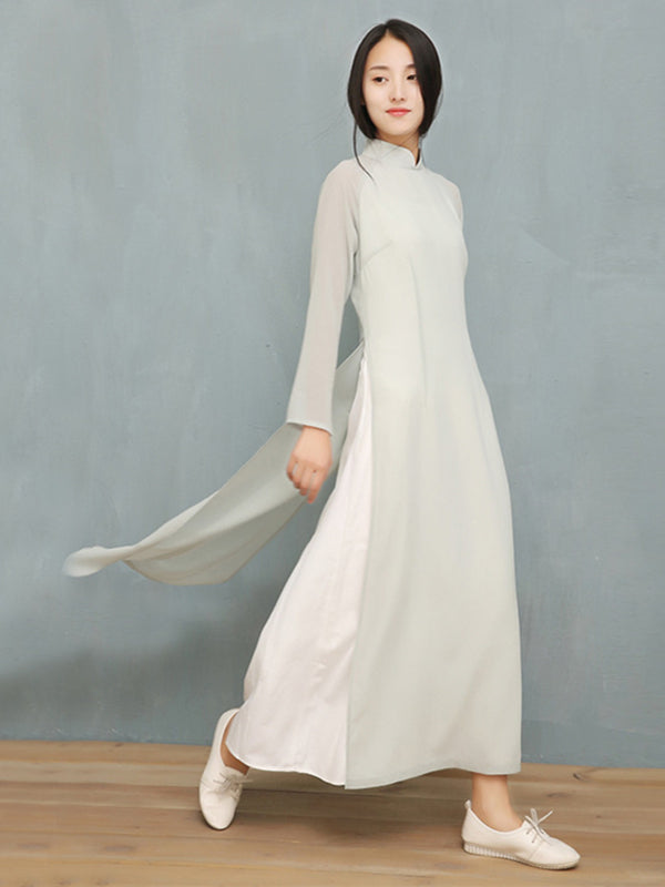 Light-Gray Split-side Long Ao Dai Cheongsam Dress