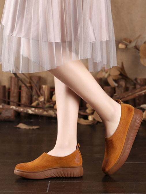 Simple Style Cowhide Soft Shoes