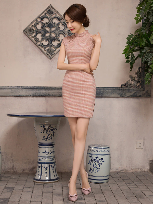 Vintage Plaid Short Cheongsam Dress