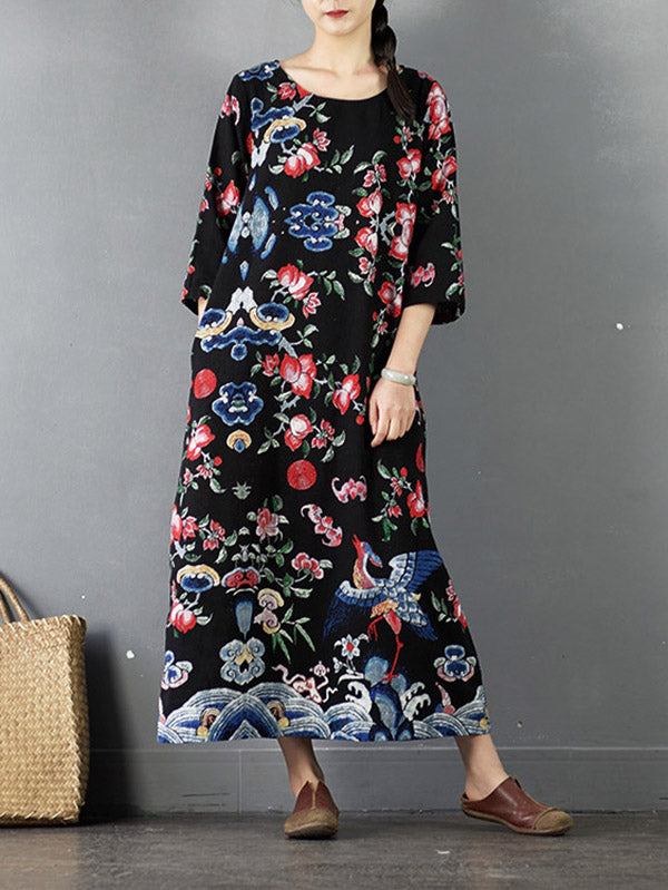 Ripple&Flower Print Ramie Cotton Loose Maxi Dress