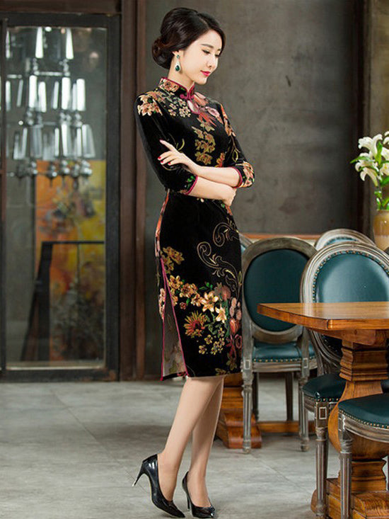 Velvet Flower Print Half Sleeves Long Cheongsam