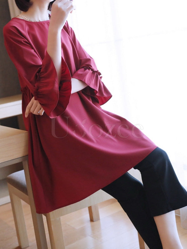 Loose Solid Flared Sleeves Midi Dress