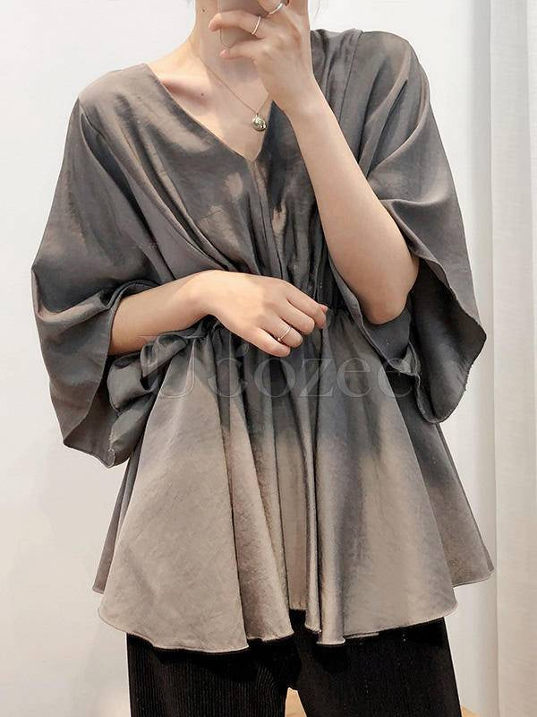 Loose Solid V-Neck Bat Sleeves Chiffon Shirt
