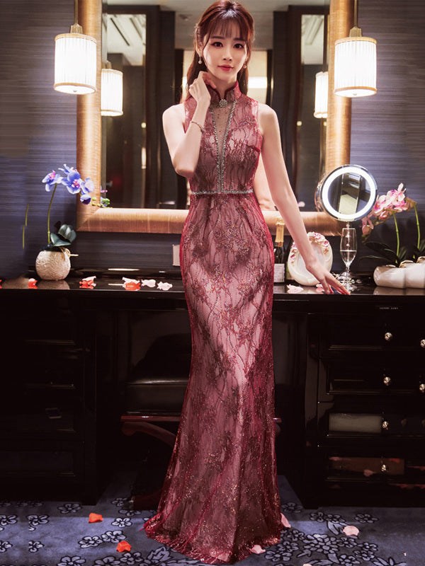 Red Lace Long Cheongsam Evening Dress