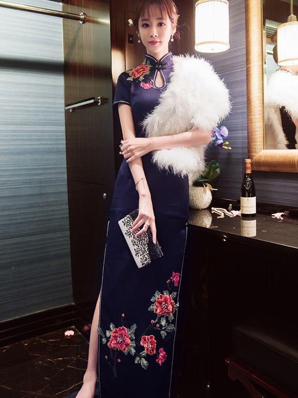 Navy-blue Floral Long Cheongsam Evening Dress