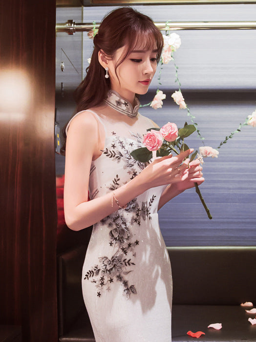 White Sequined Long Cheongsam Evening Dress