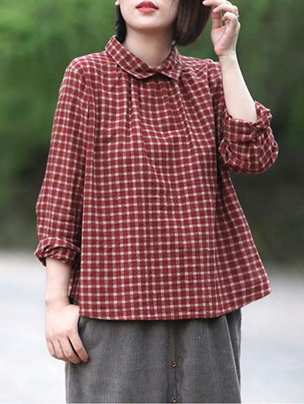 Linen Back-button Plaid Loose Blouse Top