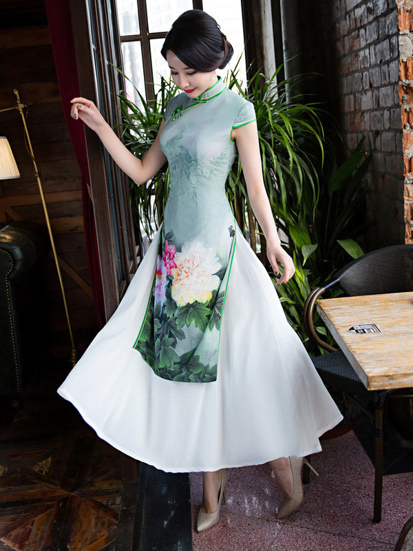 Green Peony Print Split-side Ao Dai Long Cheongsam