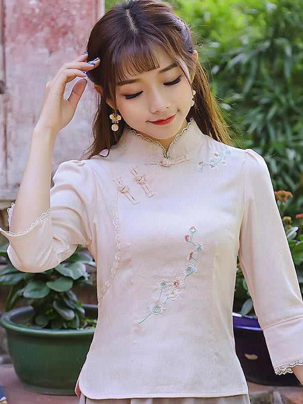 Stand Collar Frog Flower Embroidered Cheongsam Tops