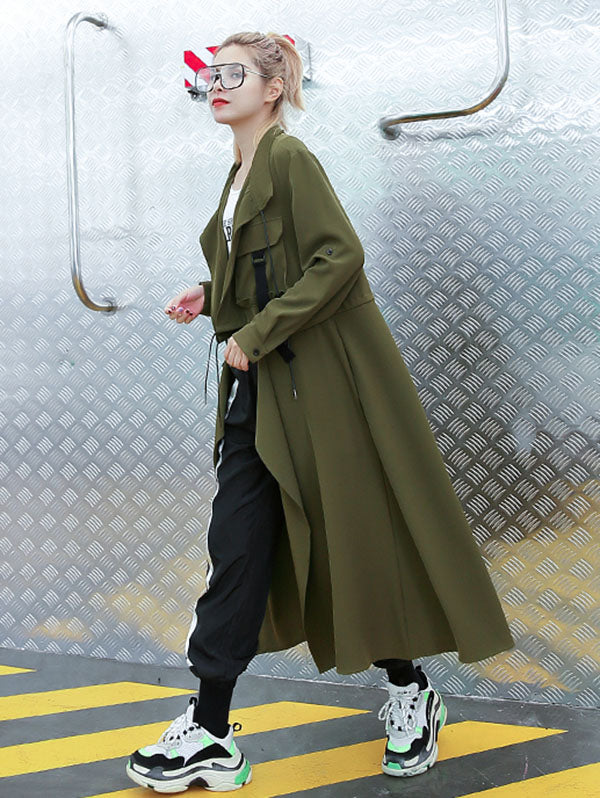 Light Loose Solid Trench Coat