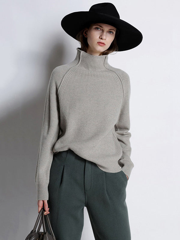 Solid Color Knitting High-neck Sweater