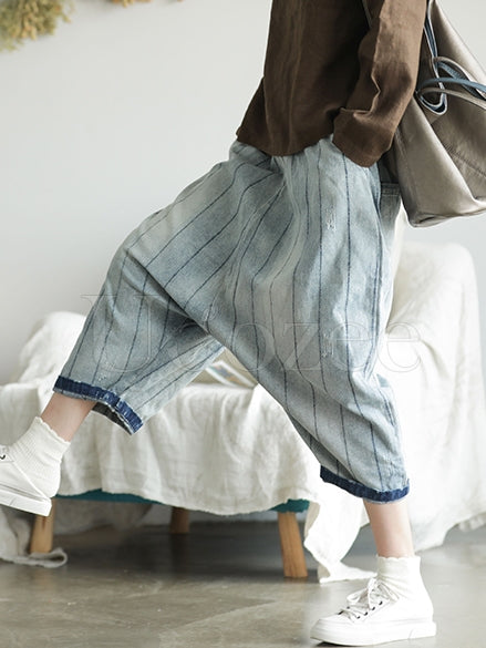 Retro Striped Wide-leg Jeans Pants