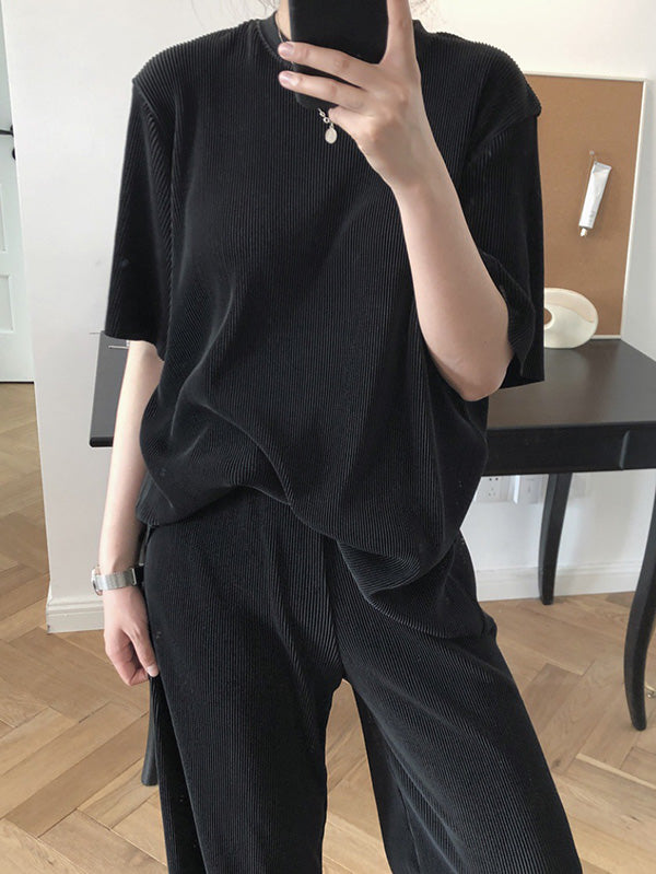 Ruffled Elastic Loose Solid T-Shirt
