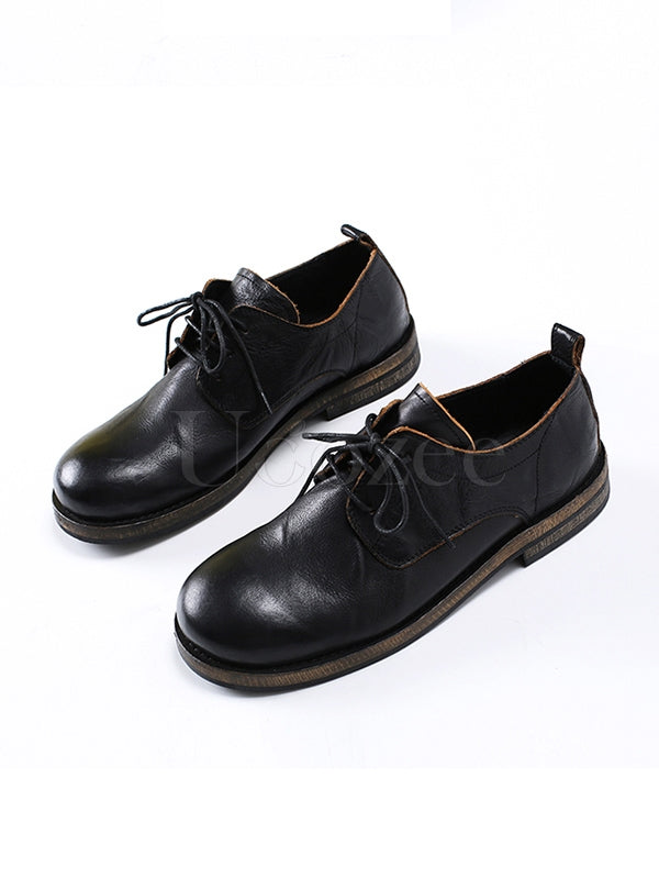 Simple Black Cow Leather Shoes